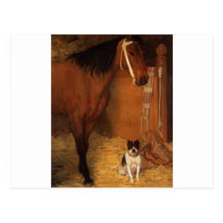At the Stables, Horse and Dog by Edgar Degas Postcard