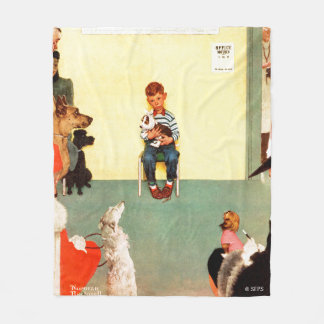 At The Vets by Norman Rockwell Fleece Blanket