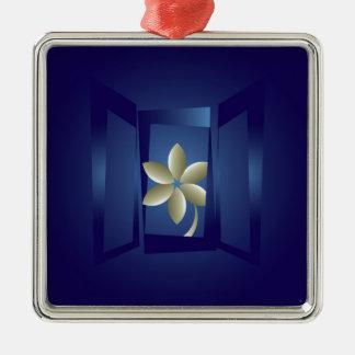 at the window Silver-Colored square ornament