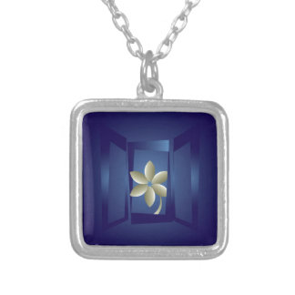 at the window silver plated necklace