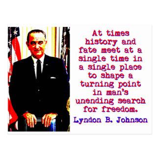 At Times History And Fate - Lyndon Johnson Postcard
