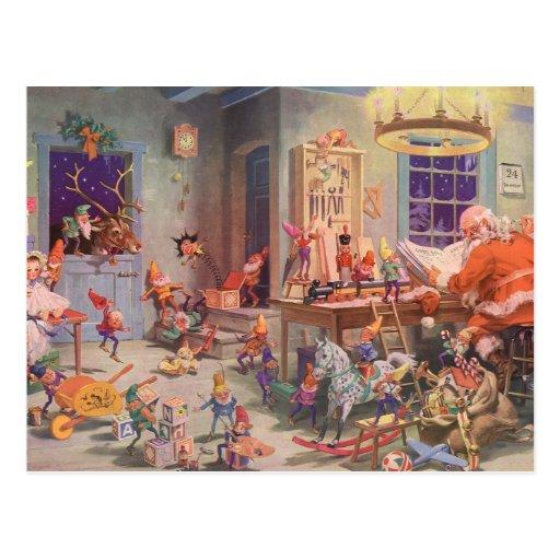 Atelier vintage de Noël, du père noël et d'elfes Carte Postale