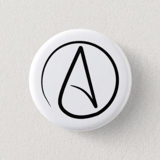 Atheism symbol: black on white 1 inch round button