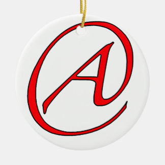 Atheist A Red on White Ornament