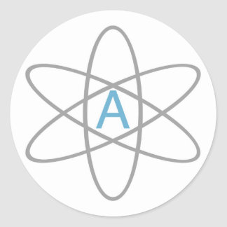 Atheist Atom - Helvetica Classic Round Sticker