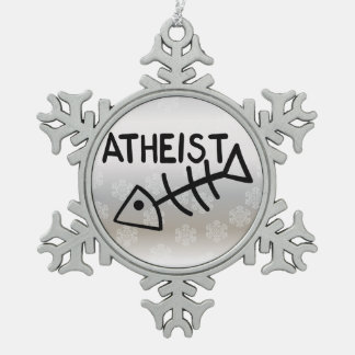 Atheist Fish Snowflake Pewter Christmas Ornament