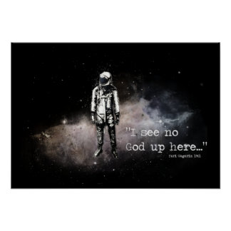 Atheist poster.  I see no god up here Poster