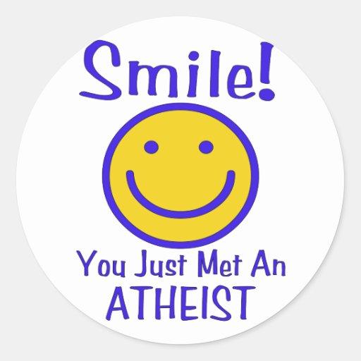 Atheist Smiley Round Stickers