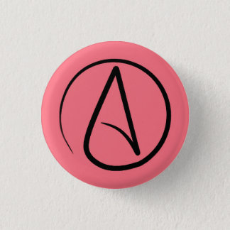 Atheist symbol: black on coral 1 inch round button