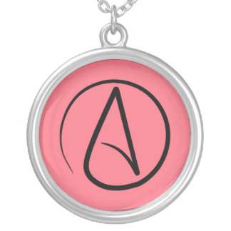 Atheist symbol: black on coral silver plated necklace