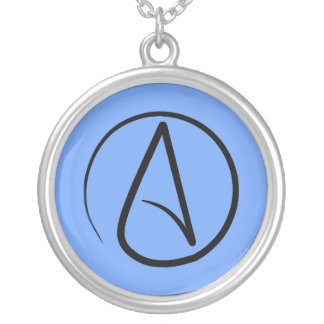 Atheist symbol: black on light blue silver plated necklace