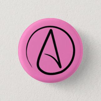 Atheist symbol: black on light pink 1 inch round button