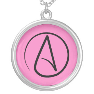 Atheist symbol: black on light pink silver plated necklace