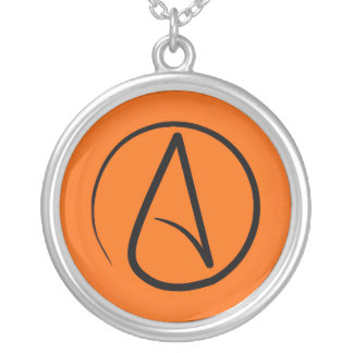 Atheist symbol: black on orange silver plated necklace