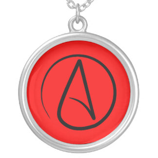 Atheist symbol: black on red silver plated necklace