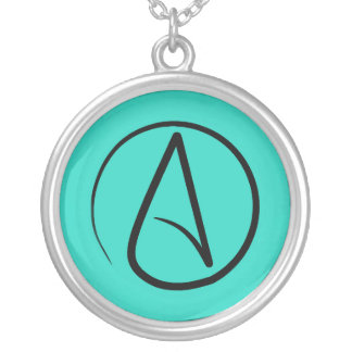 Atheist symbol: black on verdigris silver plated necklace