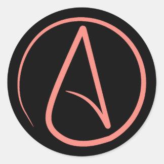 Atheist symbol: coral on black round sticker