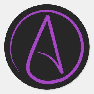 Atheist symbol: purple on black classic round sticker