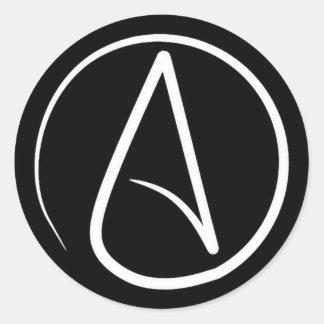Atheist symbol: white on black round sticker