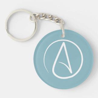 Atheist symbol: white on blue-grey Double-Sided round acrylic keychain