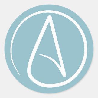 Atheist symbol: white on blue-grey round sticker
