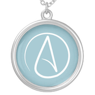 Atheist symbol: white on blue-grey silver plated necklace