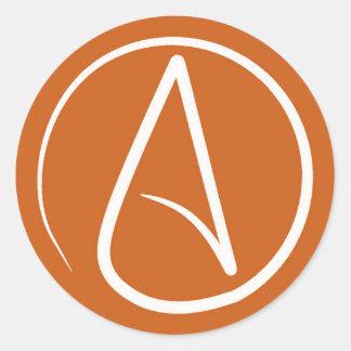 Atheist symbol: white on burnt orange round sticker