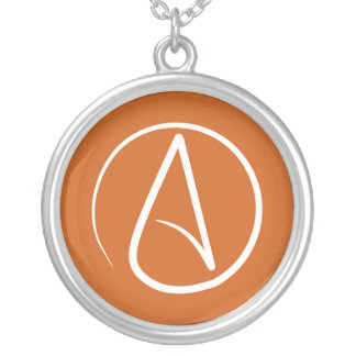 Atheist symbol: white on burnt orange silver plated necklace