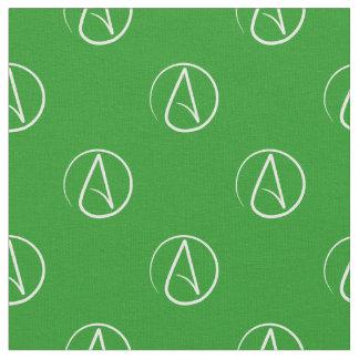 Atheist symbol: white on green fabric