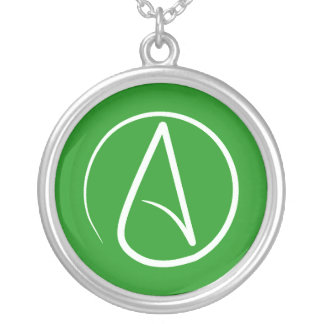 Atheist symbol: white on green silver plated necklace