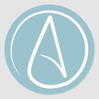 Atheist symbol: white on grey-blue round sticker