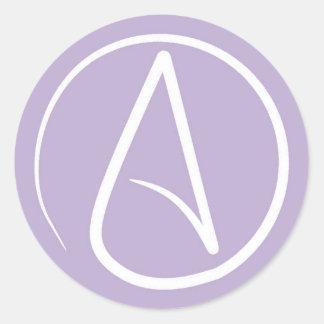 Atheist symbol: white on lavender classic round sticker