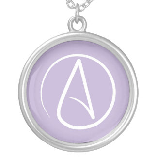Atheist symbol: white on lavender silver plated necklace