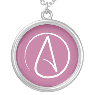 Atheist  symbol: white on mauve pink silver plated necklace