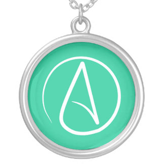 Atheist symbol: white on mint green silver plated necklace
