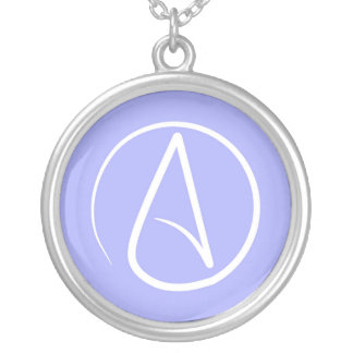 Atheist symbol: white on periwinkle silver plated necklace