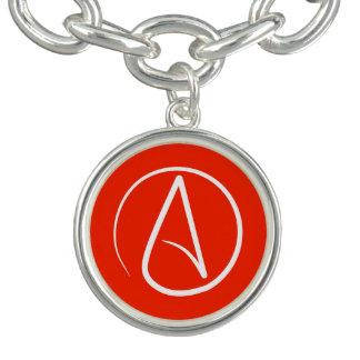 Atheist symbol: white on red charm bracelets