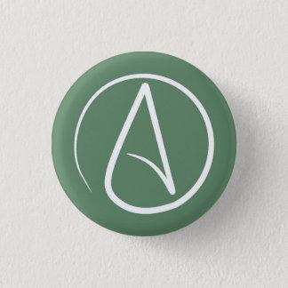 Atheist symbol: white on sage green 1 inch round button