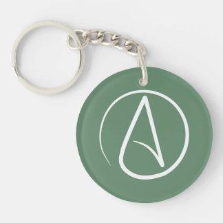 Atheist symbol: white on sage green Double-Sided round acrylic keychain