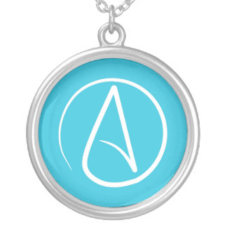 Atheist symbol: white on sky blue silver plated necklace