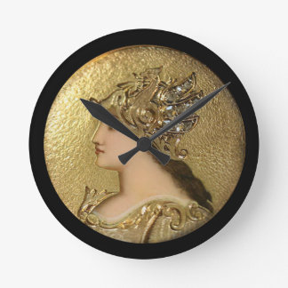 ATHENA PORTRAIT WITH GOLDEN HELMET AND GRYPHONS ROUND CLOCK