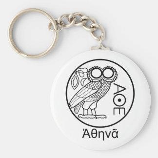 Athena's owl tetradrachm (Greek Font) Keychain