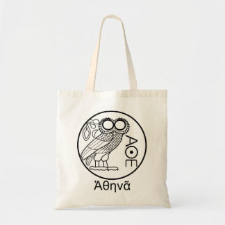 Athena's owl tetradrachm (Greek Font) Tote Bag