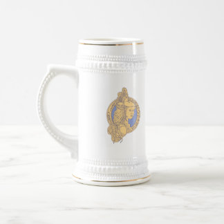 Athena with Owl on Shoulder Circuit Circle Mono Li Beer Stein