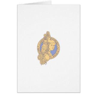 Athena with Owl on Shoulder Circuit Circle Mono Li Card