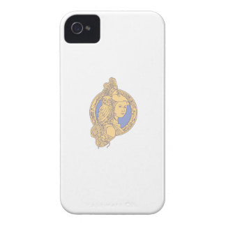 Athena with Owl on Shoulder Circuit Circle Mono Li Case-Mate iPhone 4 Cases