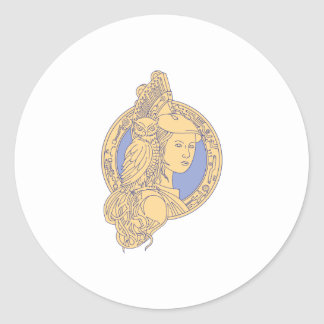 Athena with Owl on Shoulder Circuit Circle Mono Li Classic Round Sticker