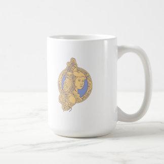 Athena with Owl on Shoulder Circuit Circle Mono Li Coffee Mug