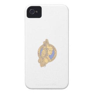Athena with Owl on Shoulder Circuit Circle Mono Li iPhone 4 Cases