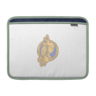 Athena with Owl on Shoulder Circuit Circle Mono Li MacBook Air Sleeve